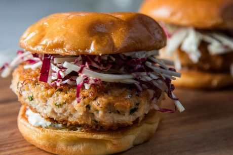 hand-chopped salmon burger