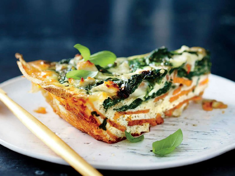 sweet potato spinach quiche
