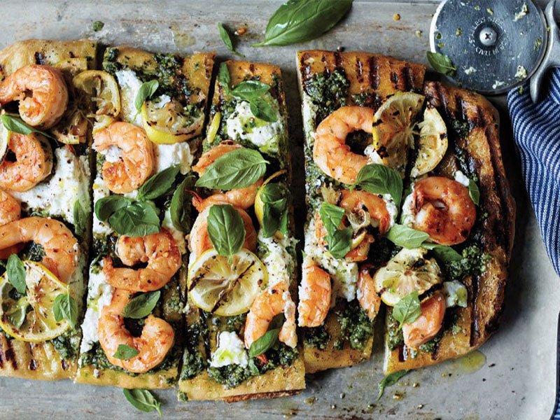 11pesto shrimp pizza